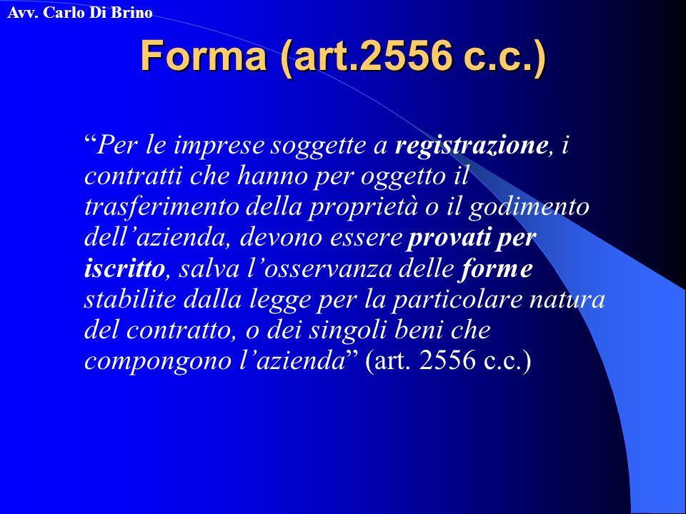 Forma (art.2556 c.c.)