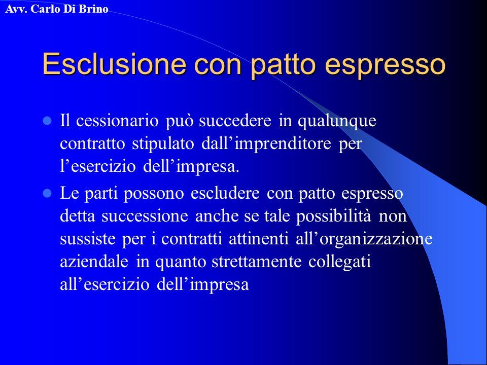 Esclusione con patto espresso