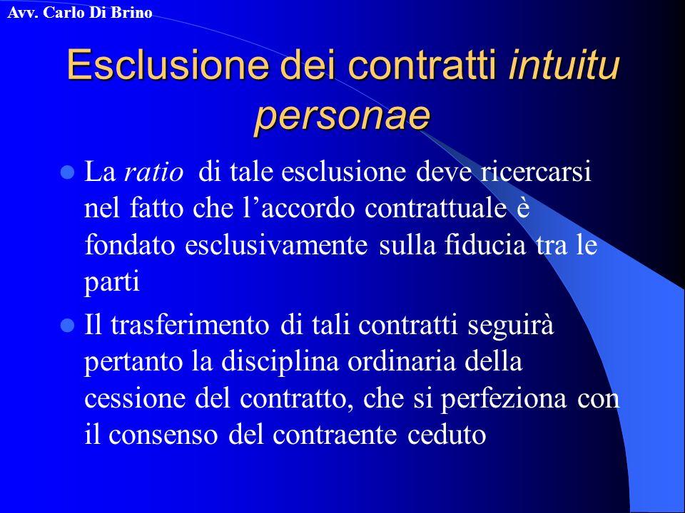 Esclusione dei contratti intuitu personae