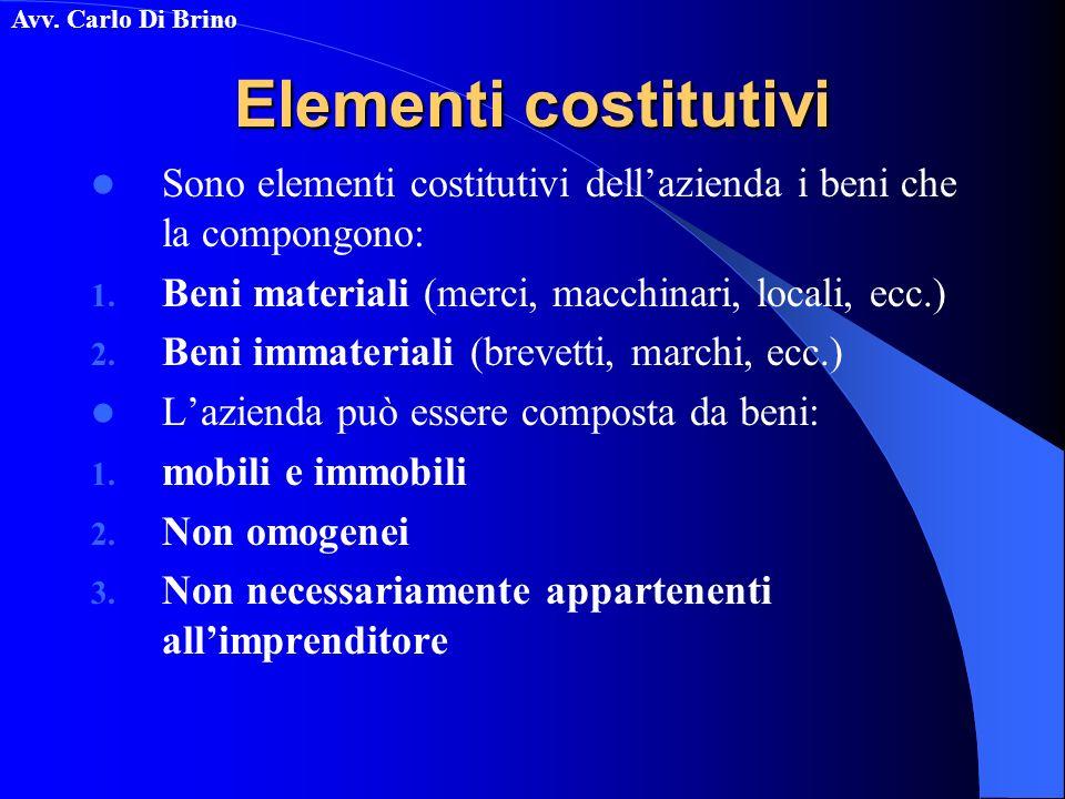 Elementi costitutivi Sono elementi costitutivi dell'azienda i beni che la compongono: Beni materiali (merci, macchinari, locali, ecc.)