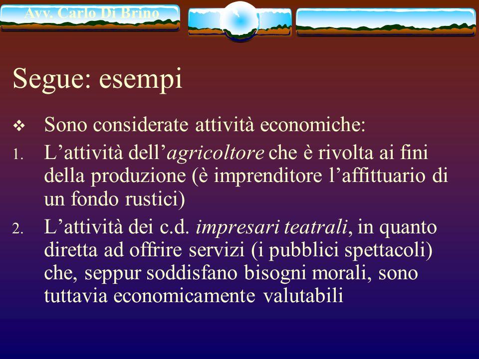 Segue: esempi Sono considerate attività economiche:
