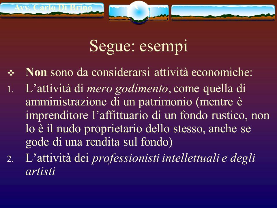 Segue: esempi Non sono da considerarsi attività economiche: