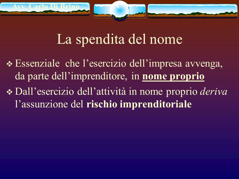 La spendita del nome Essenziale che l'esercizio dell'impresa avvenga, da parte dell'imprenditore, in nome proprio.