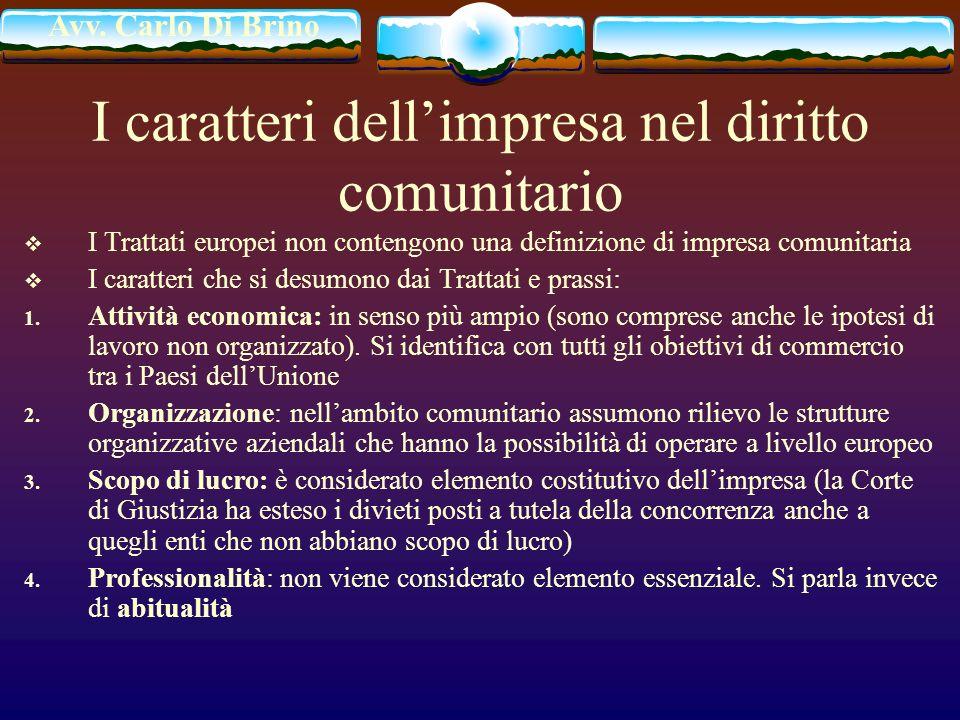 I caratteri dell'impresa nel diritto comunitario