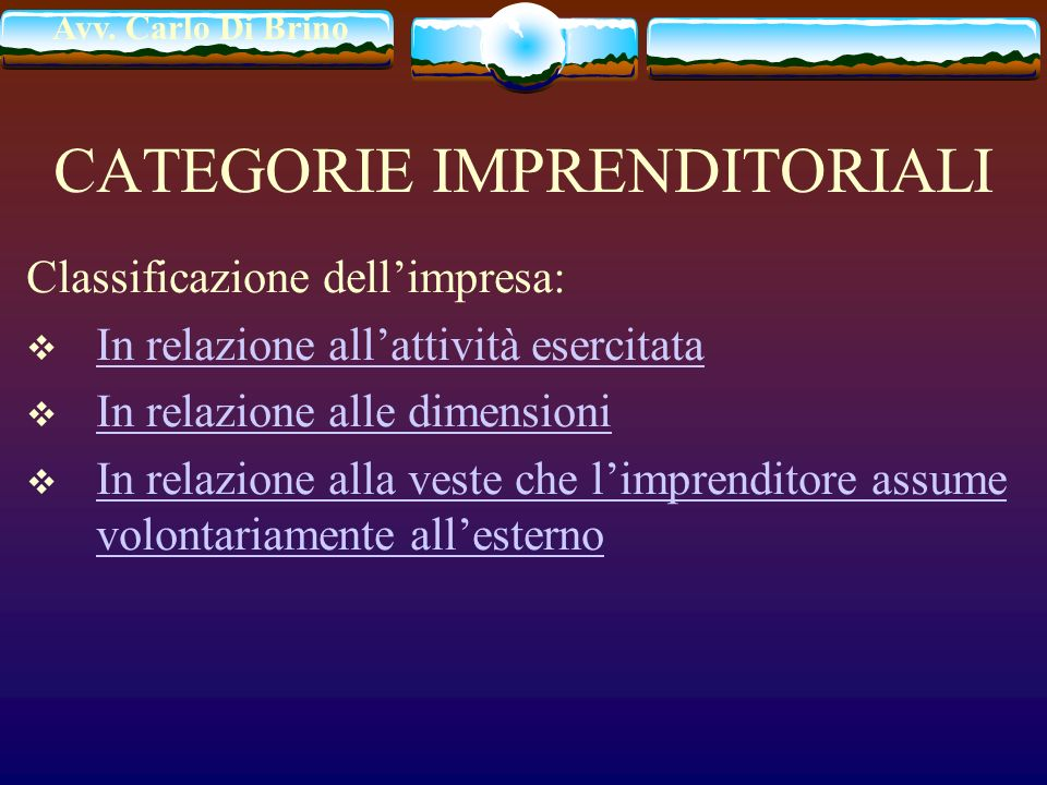 CATEGORIE IMPRENDITORIALI