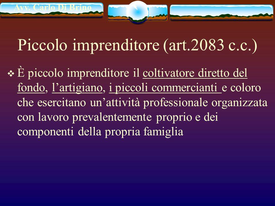 Piccolo imprenditore (art.2083 c.c.)