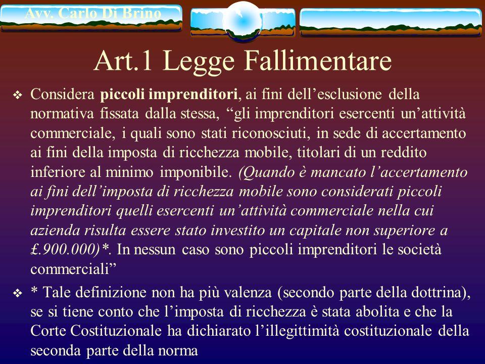 Art.1 Legge Fallimentare