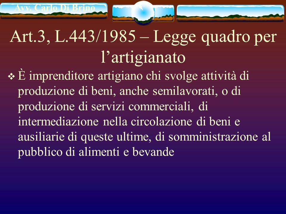 Art.3, L.443/1985 – Legge quadro per l'artigianato