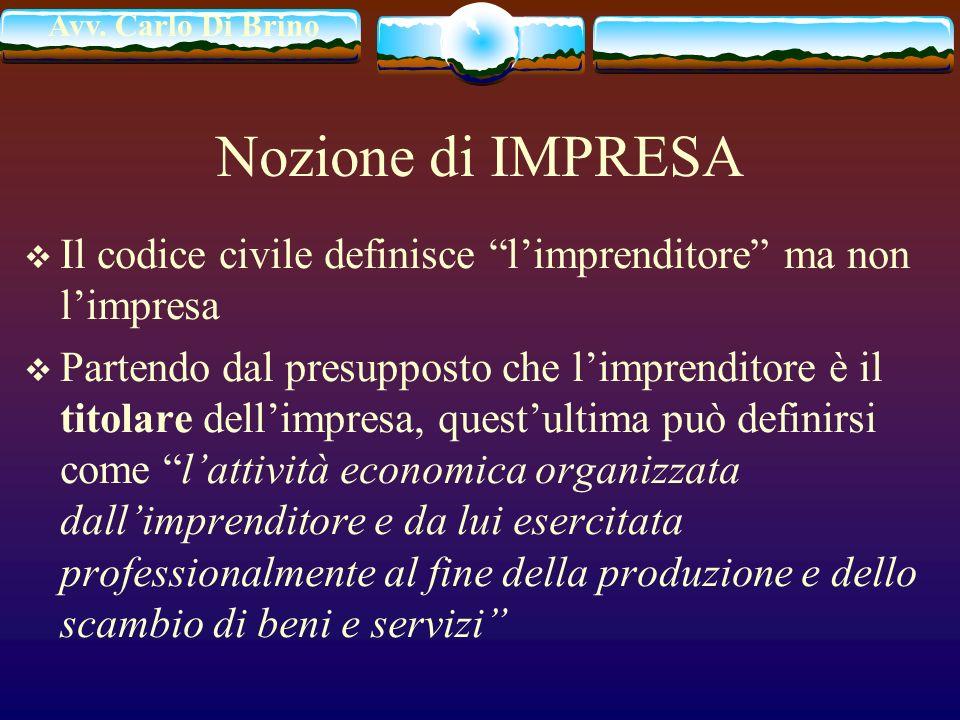 Nozione di IMPRESA Il codice civile definisce l'imprenditore ma non l'impresa.