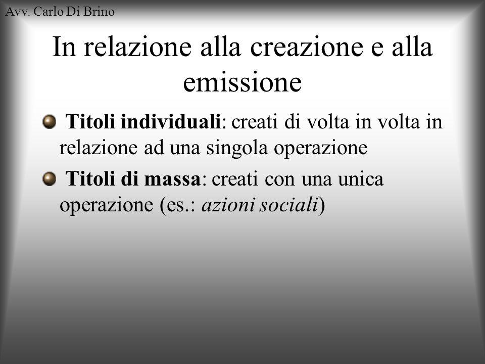 In relazione alla creazione e alla emissione
