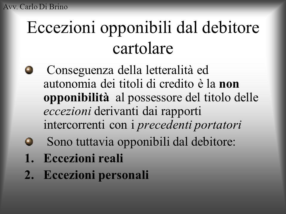 Eccezioni opponibili dal debitore cartolare
