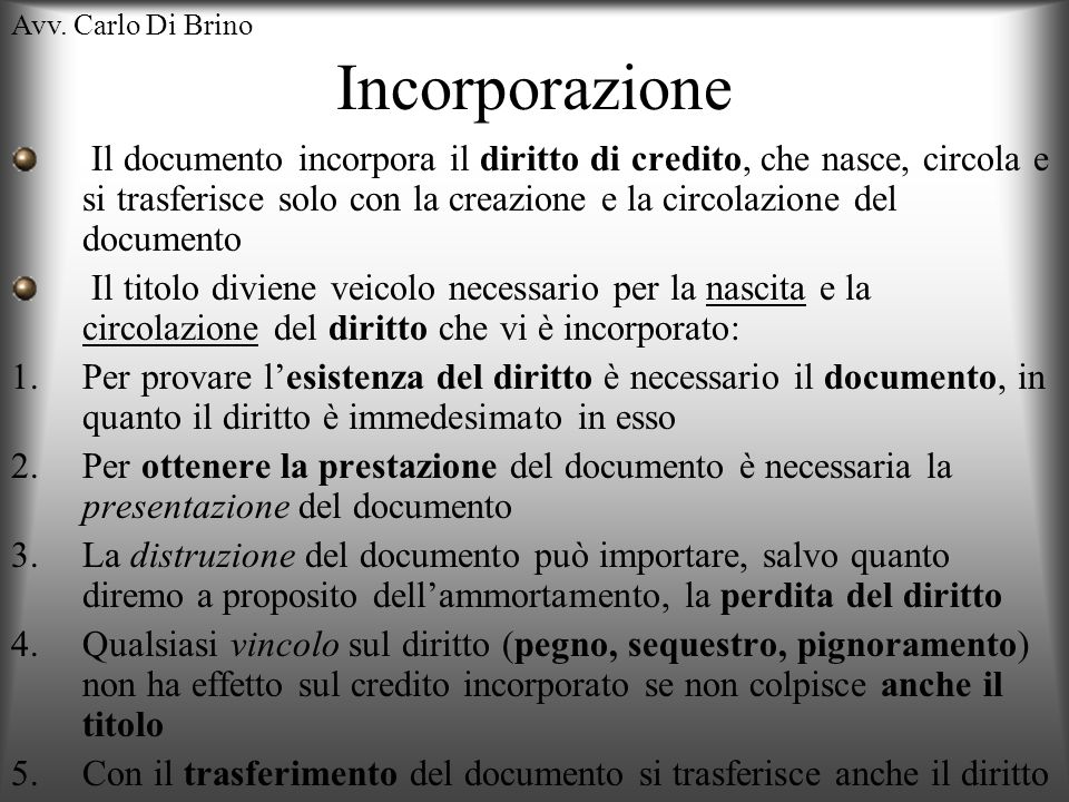 Avv. Carlo Di Brino Incorporazione.