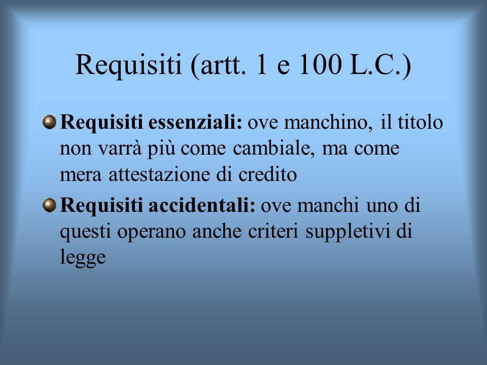 Requisiti (artt. 1 e 100 L.C.) Requisiti essenziali: ove manchino, il titolo non varrà più come cambiale, ma come mera attestazione di credito.