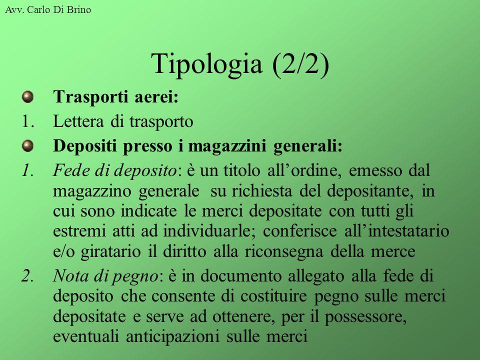 Tipologia (2/2) Trasporti aerei: Lettera di trasporto