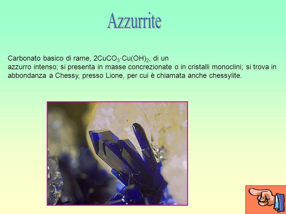 Azzurrite Carbonato basico di rame, 2CuCO3·Cu(OH)2, di un