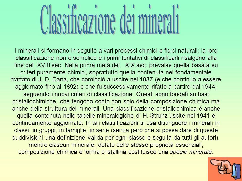 Classificazione dei minerali
