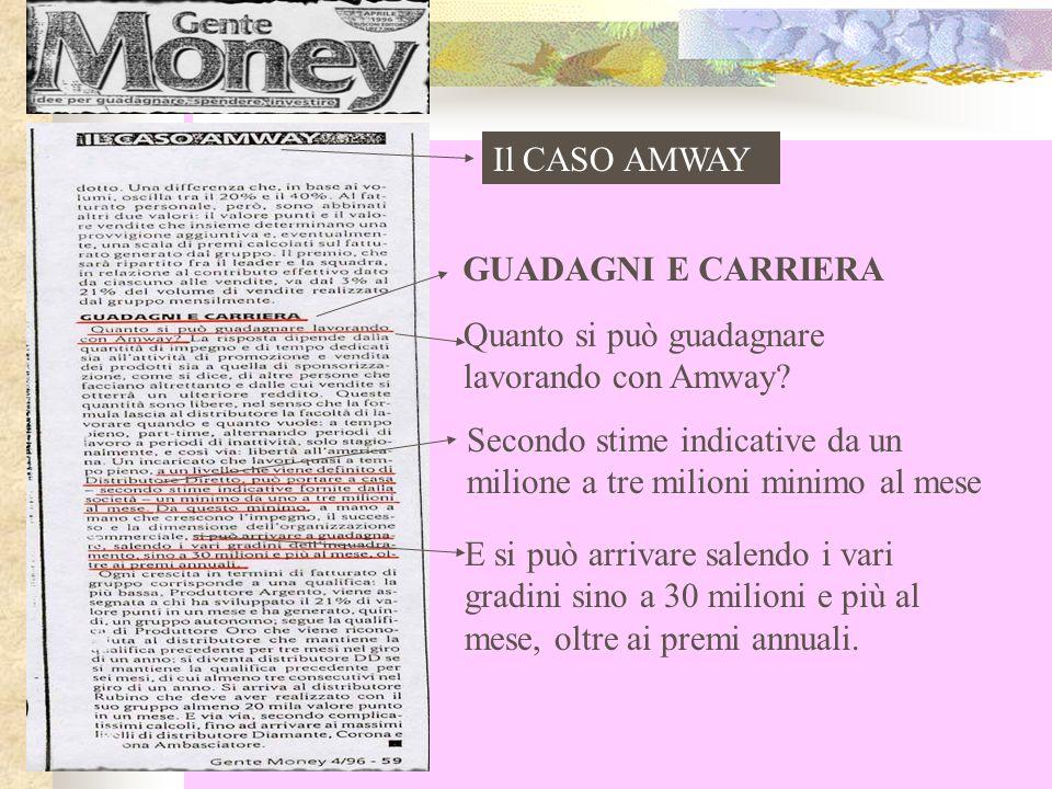 Il CASO AMWAY GUADAGNI E CARRIERA. Quanto si può guadagnare lavorando con Amway
