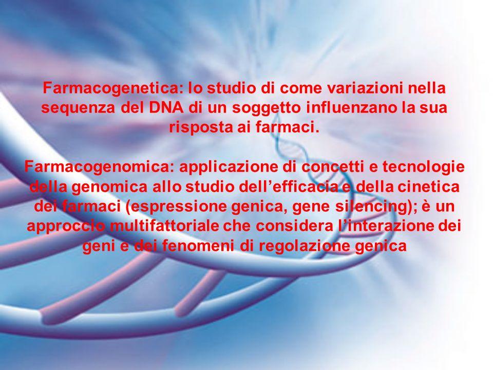 Farmacogenetica: lo studio di come variazioni nella sequenza del DNA di un soggetto influenzano la sua risposta ai farmaci.