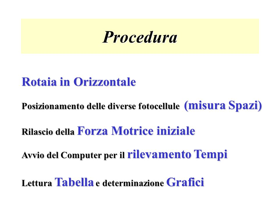 Procedura Rotaia in Orizzontale
