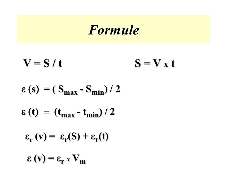 Formule V = S / t S = V x t e (s) = ( Smax - Smin) / 2