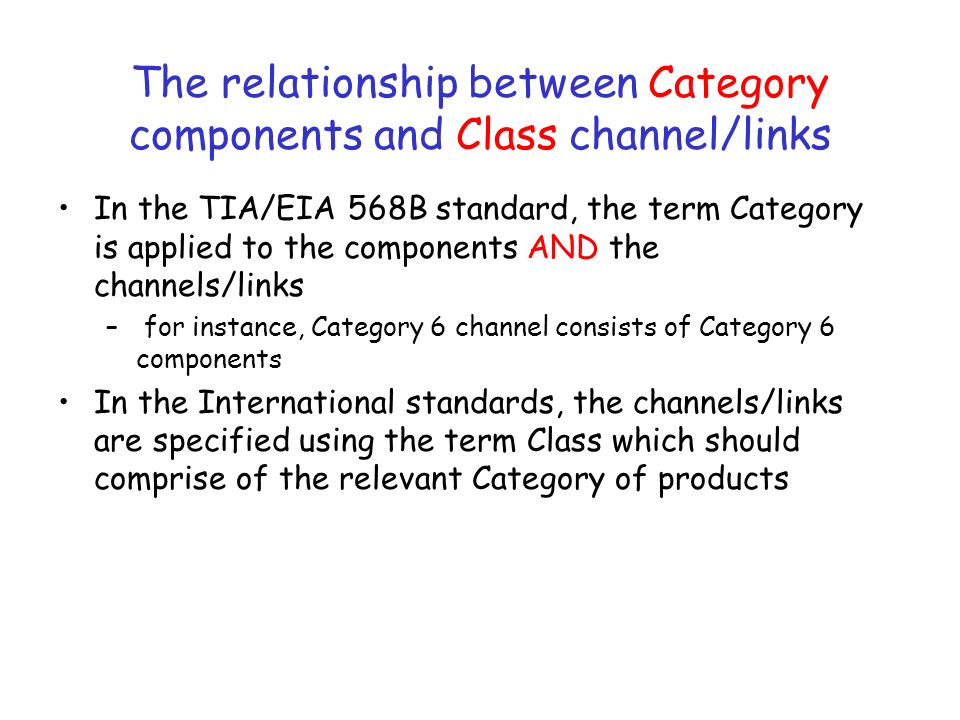 The relationship between Category components and Class channel/links