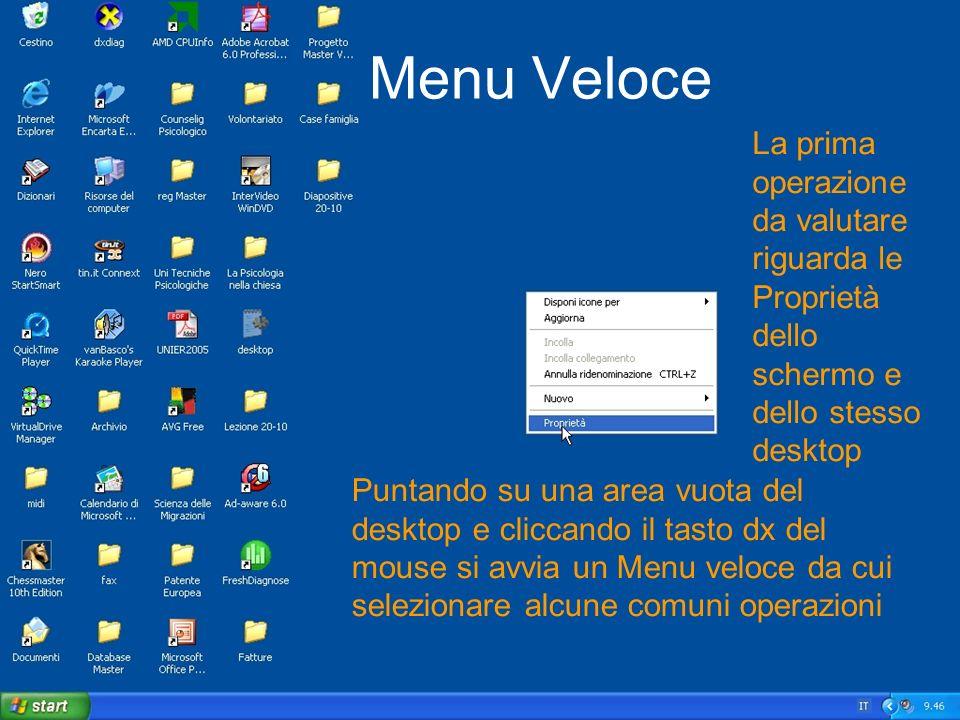 Menu VeloceLa prima operazione da valutare riguarda le Proprietà dello schermo e dello stesso desktop.
