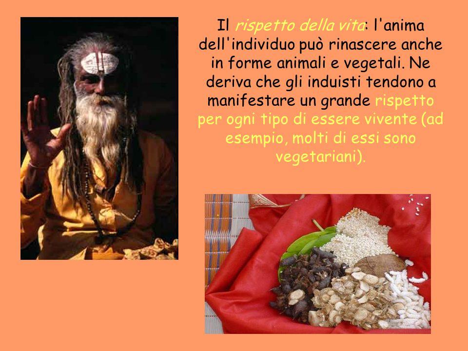 Il rispetto della vita: l anima dell individuo può rinascere anche in forme animali e vegetali.