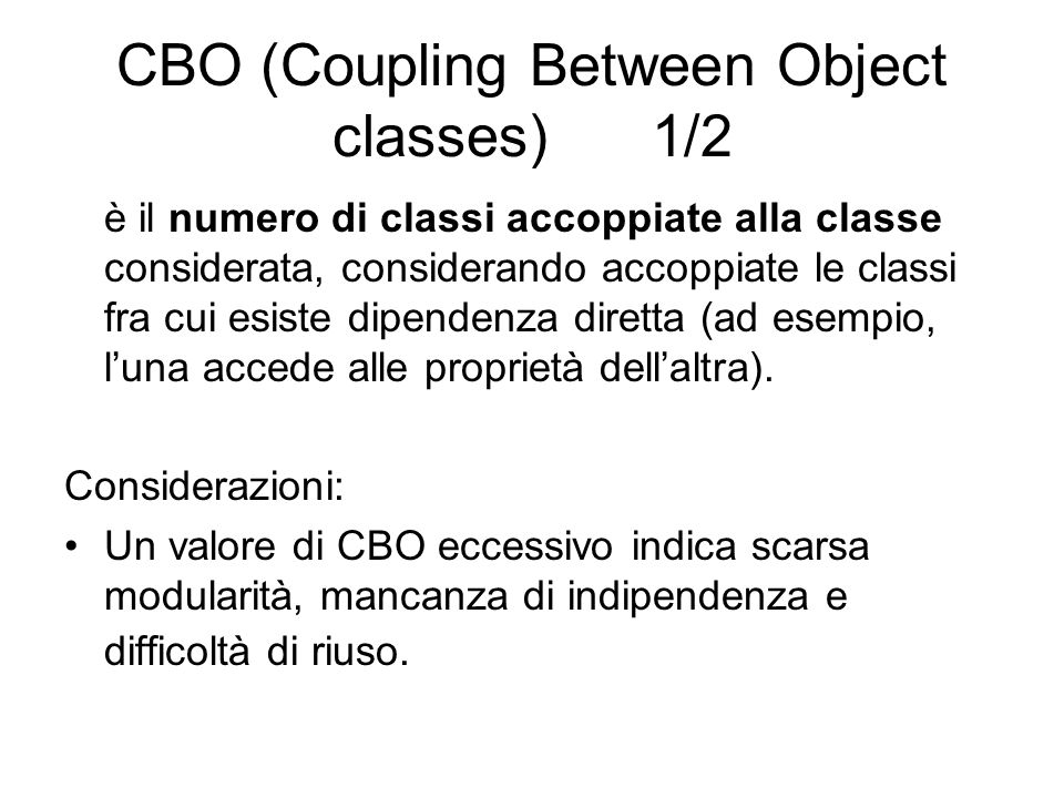 CBO (Coupling Between Object classes) 1/2