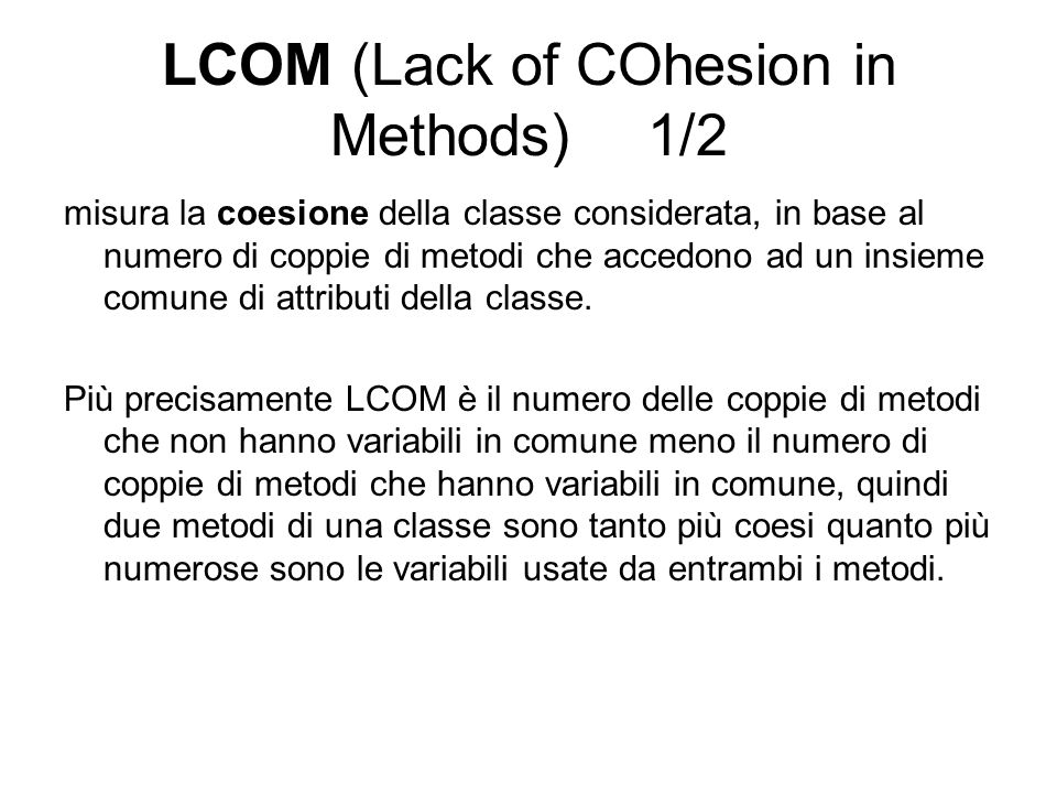 LCOM (Lack of COhesion in Methods) 1/2