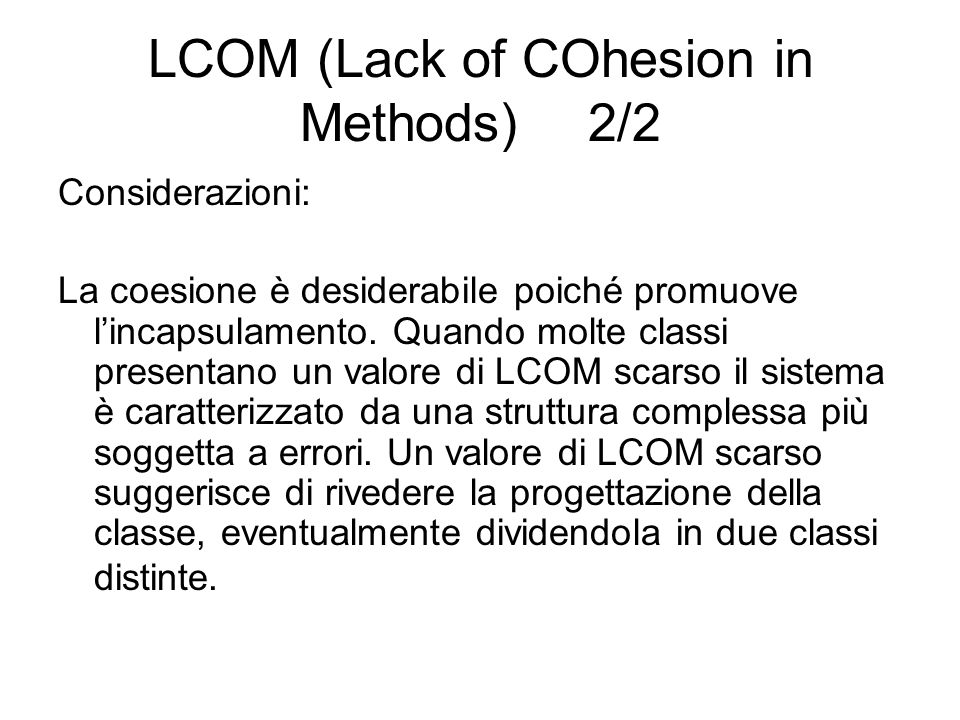 LCOM (Lack of COhesion in Methods) 2/2