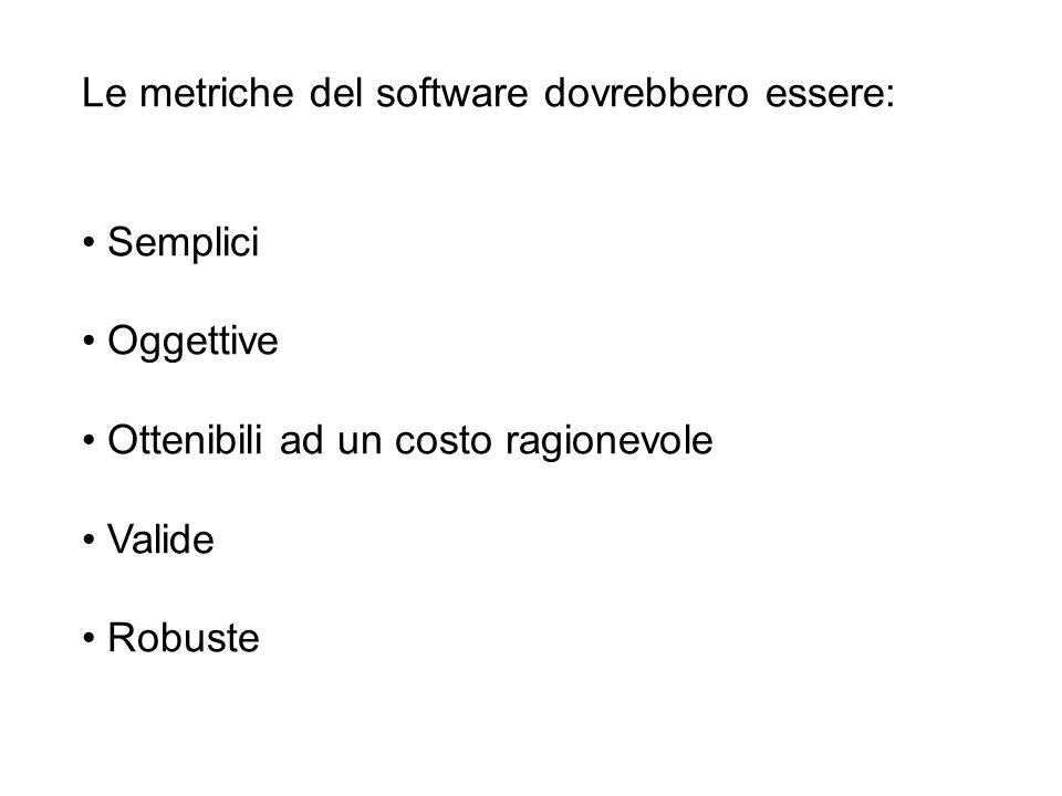 Le metriche del software dovrebbero essere: