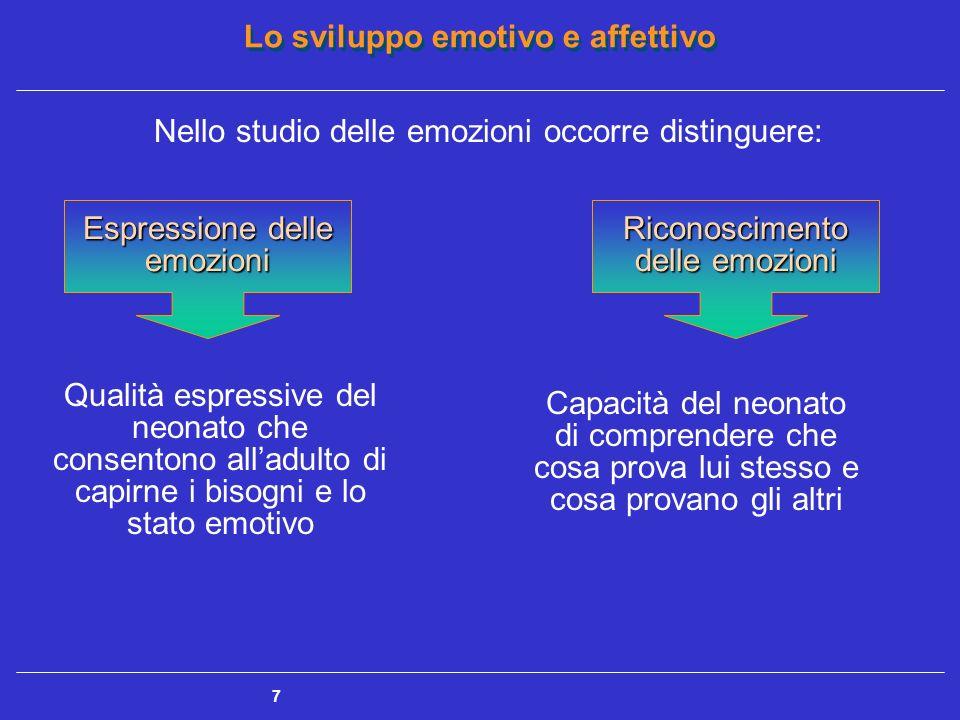 Nello studio delle emozioni occorre distinguere: