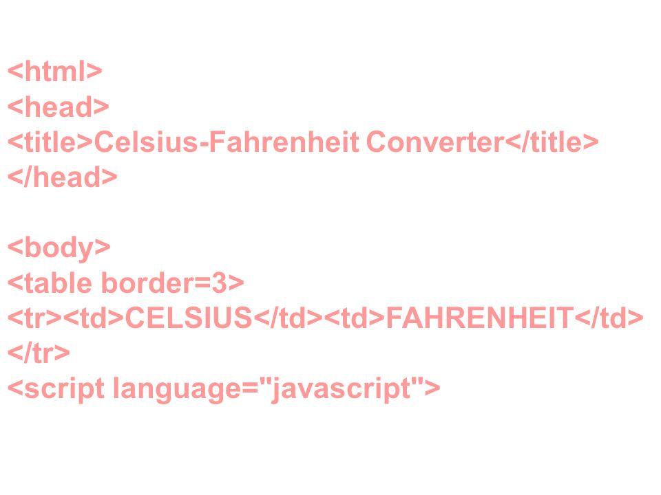<html> <head> <title>Celsius-Fahrenheit Converter</title> </head> <body> <table border=3> <tr><td>CELSIUS</td><td>FAHRENHEIT</td></tr> <script language= javascript >