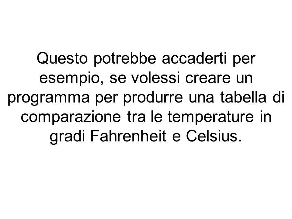 Questo potrebbe accaderti per esempio, se volessi creare un programma per produrre una tabella di comparazione tra le temperature in gradi Fahrenheit e Celsius.