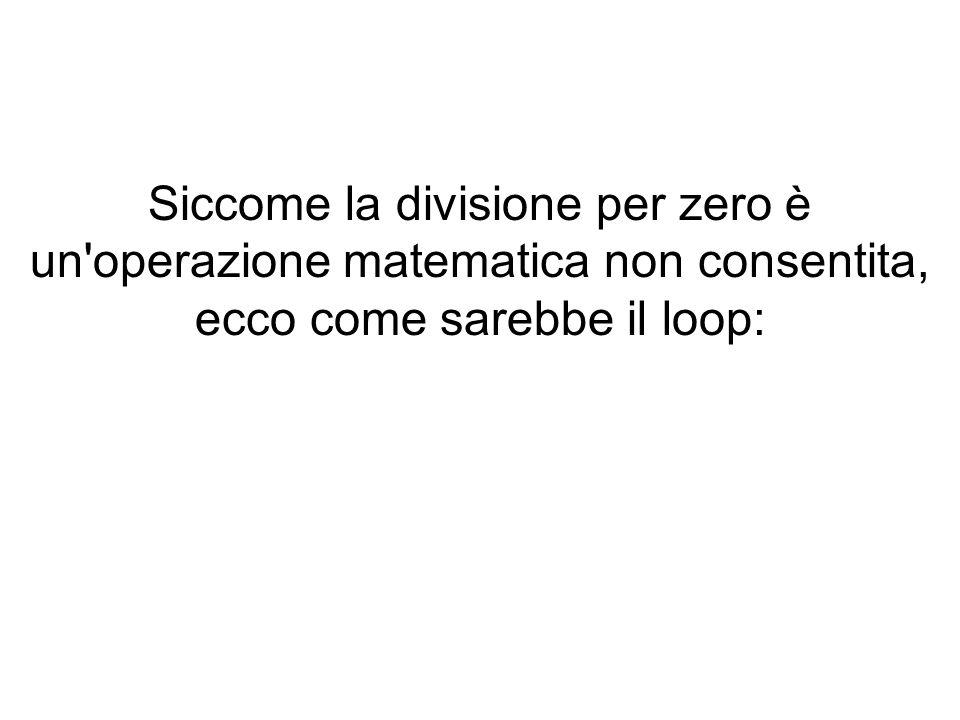 Siccome la divisione per zero è un operazione matematica non consentita, ecco come sarebbe il loop: