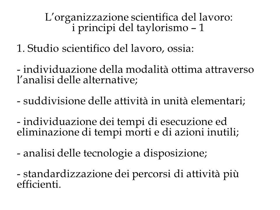 L'organizzazione scientifica del lavoro: