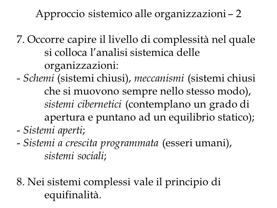 Approccio sistemico alle organizzazioni – 2 7