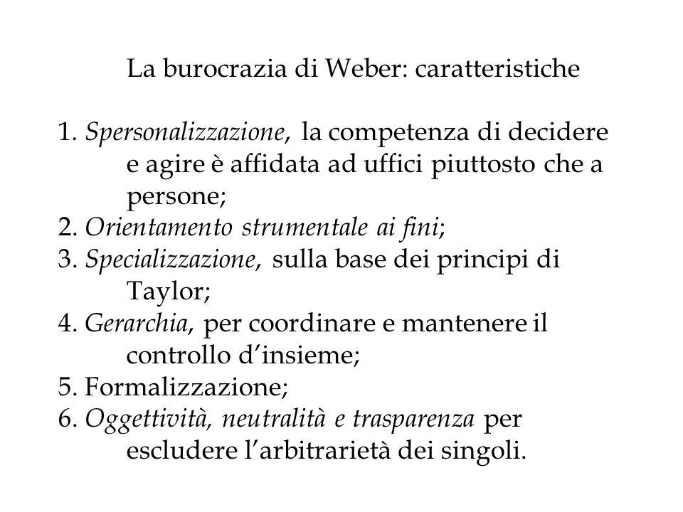La burocrazia di Weber: caratteristiche 1