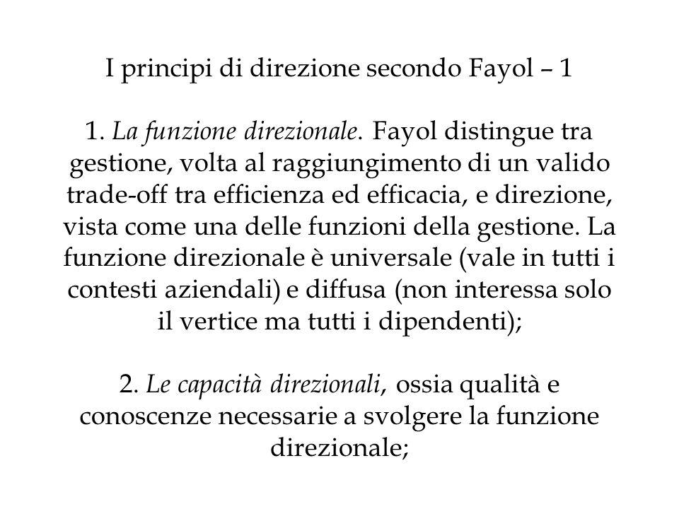 I principi di direzione secondo Fayol – 1 1. La funzione direzionale