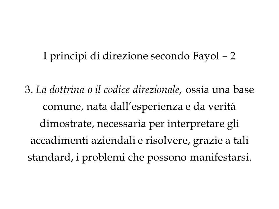 I principi di direzione secondo Fayol – 2 3