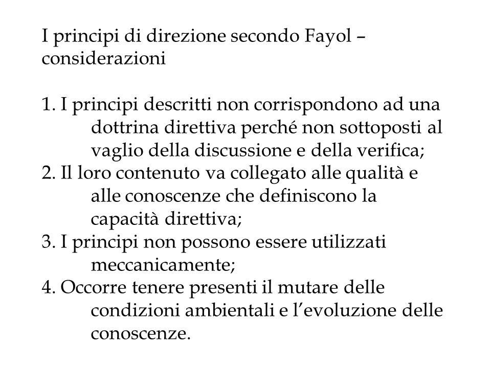 I principi di direzione secondo Fayol – considerazioni 1