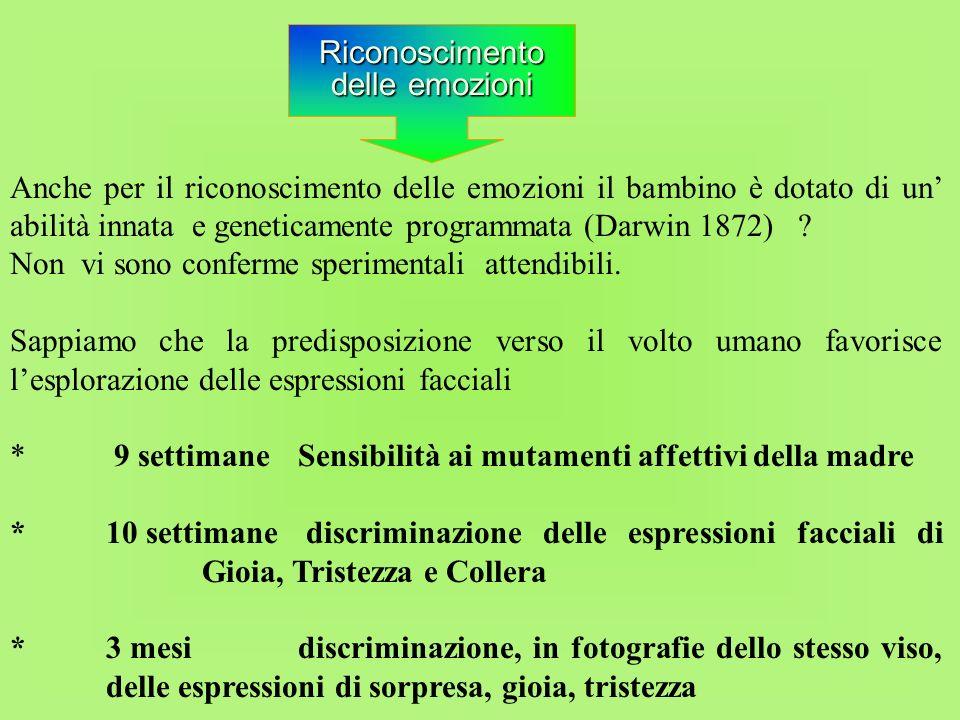 Anche per il riconoscimento delle emozioni il bambino è dotato di un' abilità innata e geneticamente programmata (Darwin 1872)