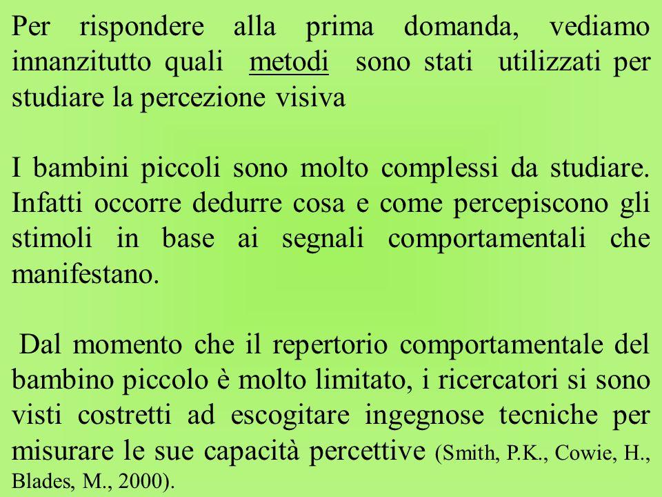 Per rispondere alla prima domanda, vediamo innanzitutto quali metodi sono stati utilizzati per studiare la percezione visiva