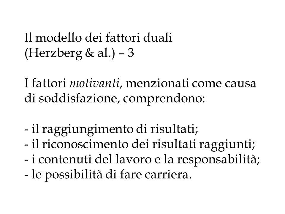 Il modello dei fattori duali (Herzberg & al