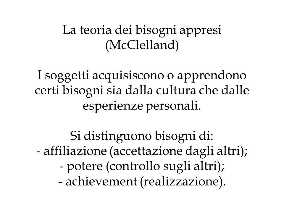 La teoria dei bisogni appresi (McClelland) I soggetti acquisiscono o apprendono certi bisogni sia dalla cultura che dalle esperienze personali.
