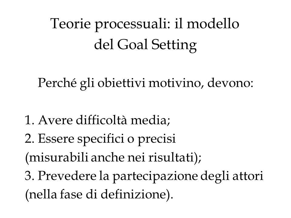 Teorie processuali: il modello del Goal Setting Perché gli obiettivi motivino, devono: 1.