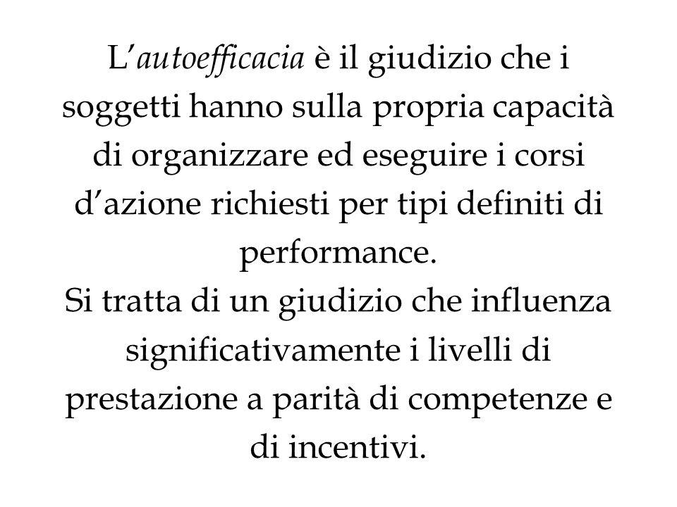 L'autoefficacia è il giudizio che i soggetti hanno sulla propria capacità di organizzare ed eseguire i corsi d'azione richiesti per tipi definiti di performance.