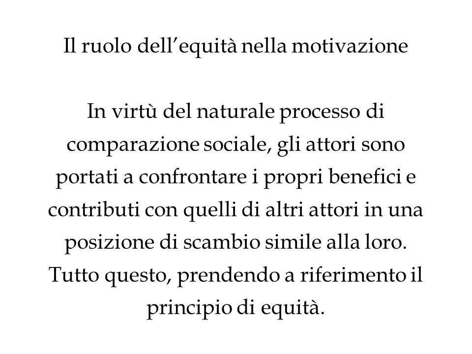 Il ruolo dell'equità nella motivazione In virtù del naturale processo di comparazione sociale, gli attori sono portati a confrontare i propri benefici e contributi con quelli di altri attori in una posizione di scambio simile alla loro.