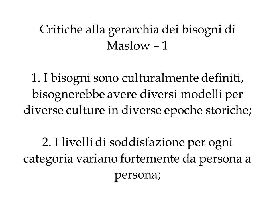Critiche alla gerarchia dei bisogni di Maslow – 1 1