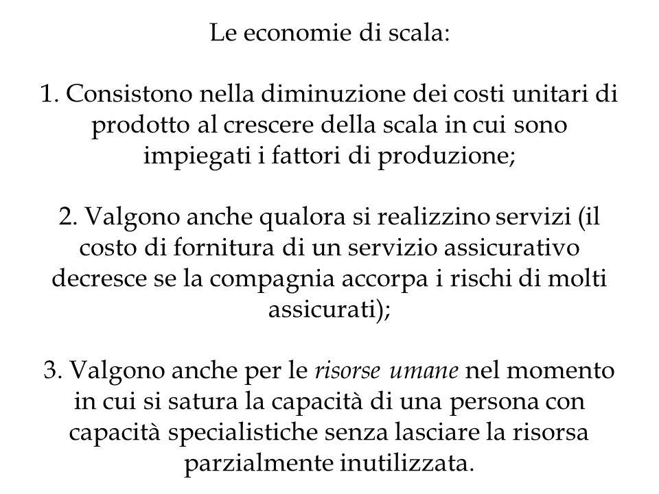 Le economie di scala: 1.